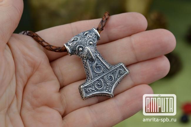 амулет молот тора серебро